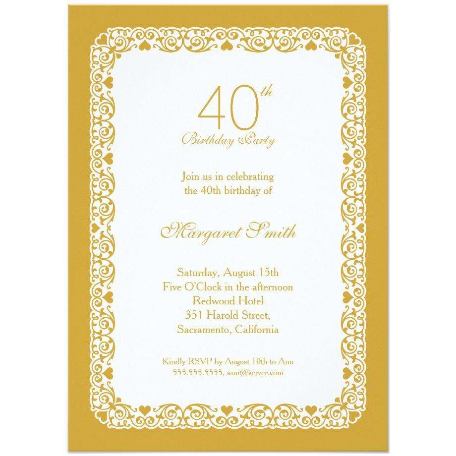 Free 40th Birthday Party Invitations Wording | FREE Printable ...