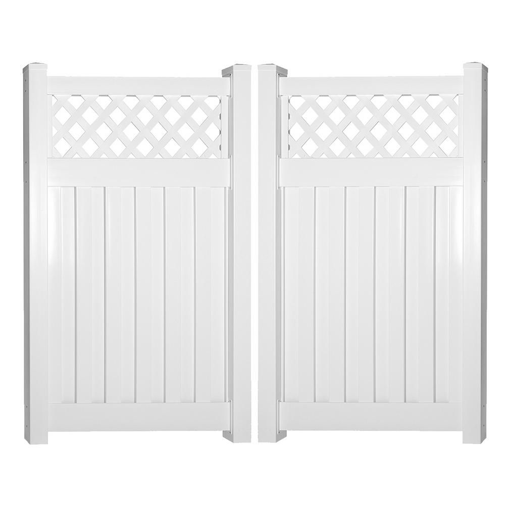 Weatherables Clearwater 8 Ft W X 6 Ft H White Vinyl Privacy Fence Double Gate Kit Vinyl Privacy Fence Fence Gate White Vinyl
