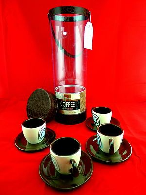 Cafe Claire Espresso Tower Gift Set Cups Saucers Roast Coffee Artsy Case Latte  Great Gift Idea!  BlingBlinky.com