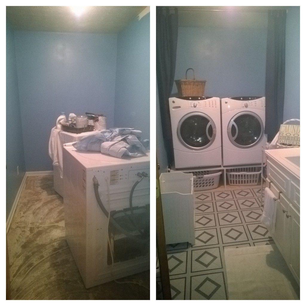 Laundry room redo!  Next step adding shelf to the walls