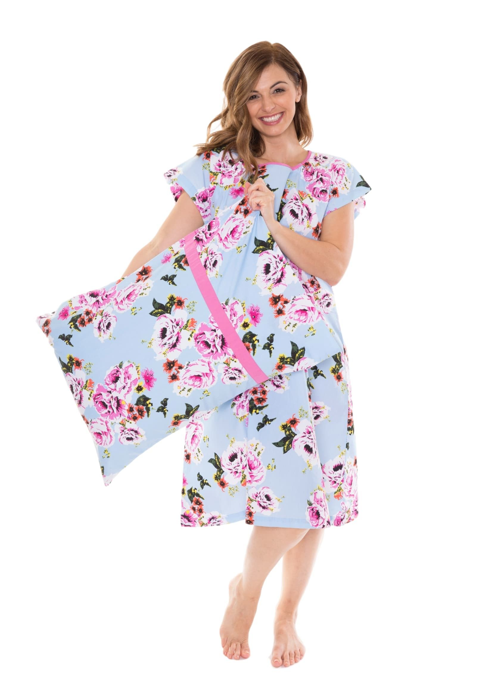 a7f40d11c81 Isla Gownie   Pillowcase Set Maternity Delivery Labor Birthing Hospital  Gown Floral