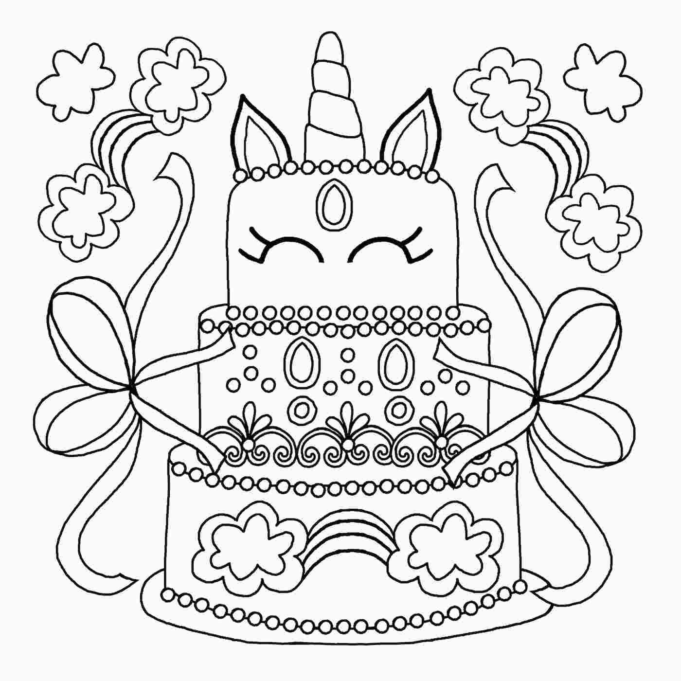 Unicorn Cake Coloring Sheet