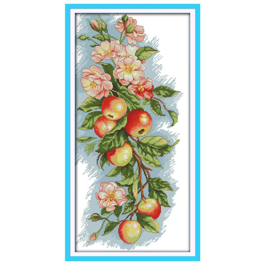 Flowers and Apples Print On Canvas DMC 14CT 11CT Cross