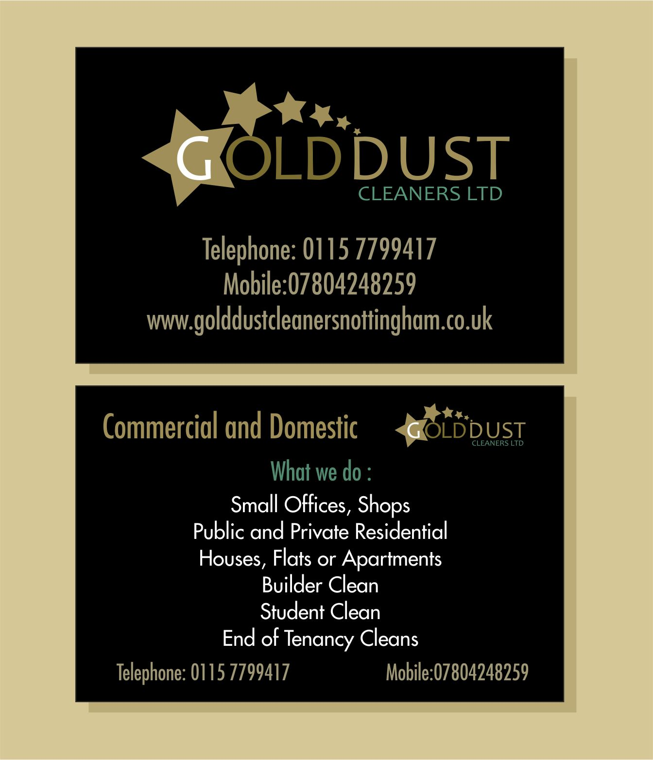 Business Cards for GoldDust Cleaners Desinged and printed by