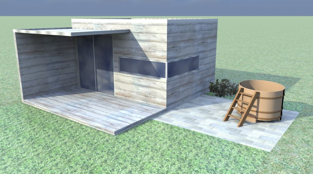 Tuinhuis met horizontale planken en oversteek van 200 cm tuinhuizen prieelen afsluitingen - Planken modern design ...