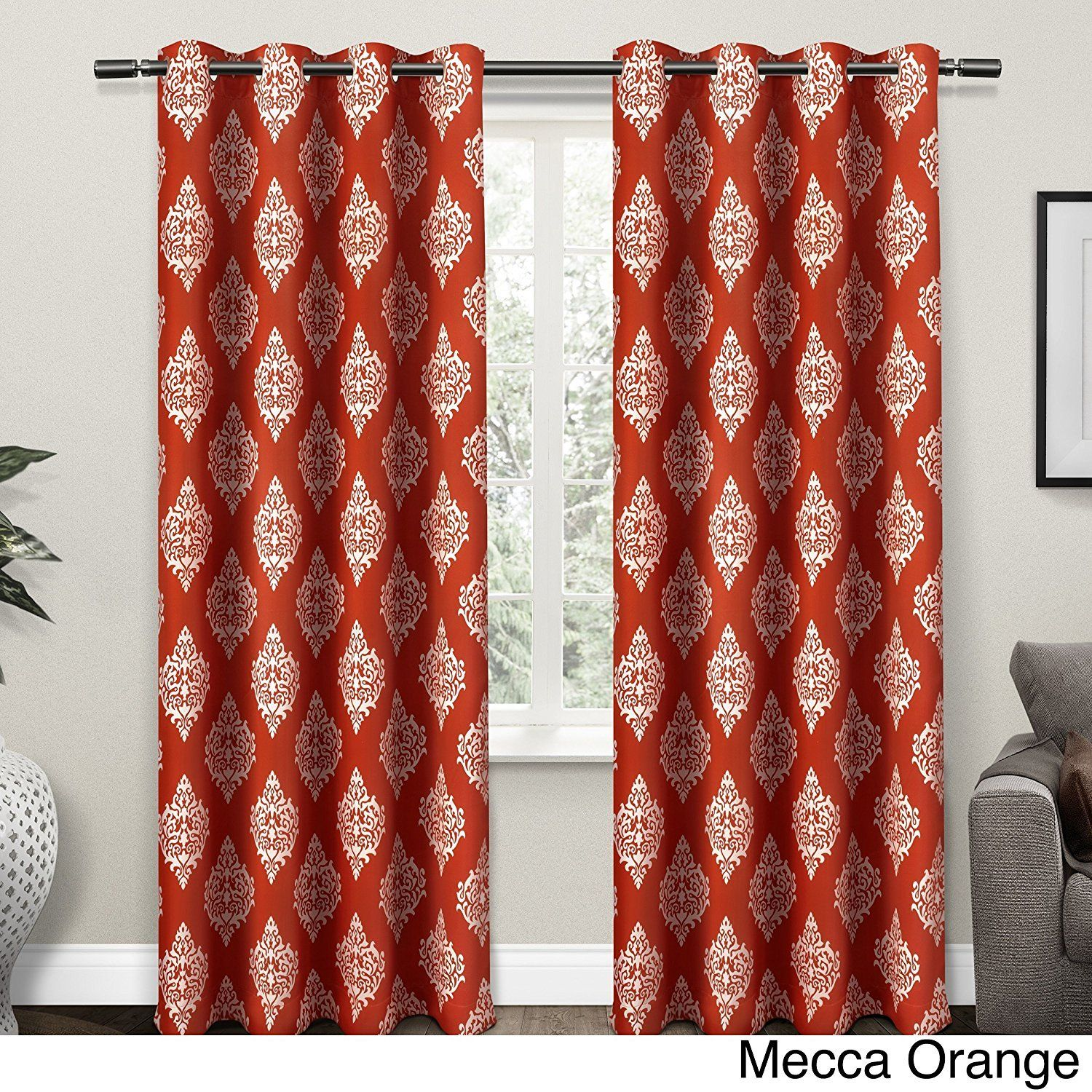 96 Inch Mecca Orange White Medallion Curtains Panel Pair Set ...