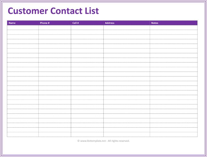 sample customer list excel