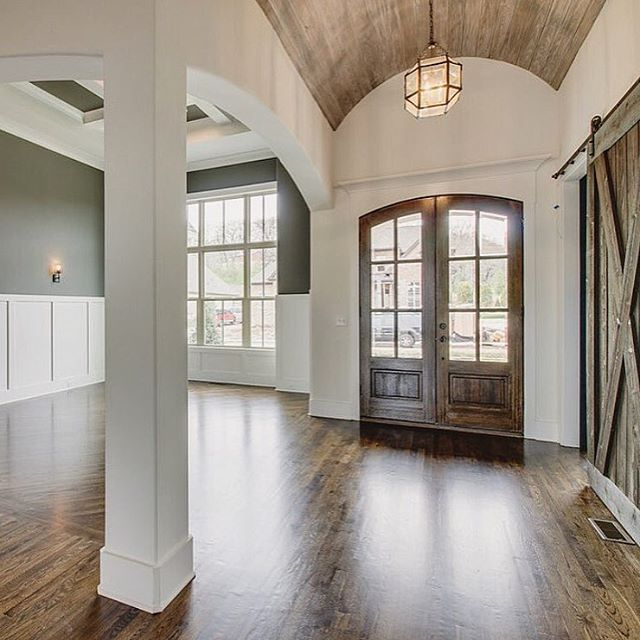 Accent Wood Trim Back Wall Interior Bedrooms Vaulted With Windows: Barrel Ceiling Covered With Wood, Wainscot & Paint In