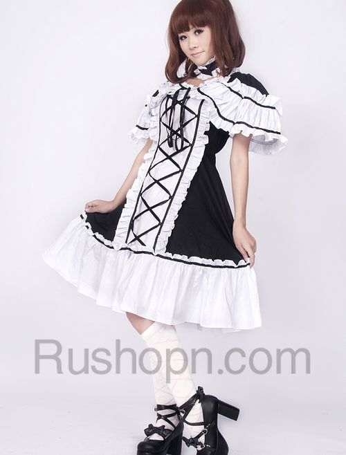 Cotton Black And White Lace Ruffles Cotton Gothic Lolita Dress