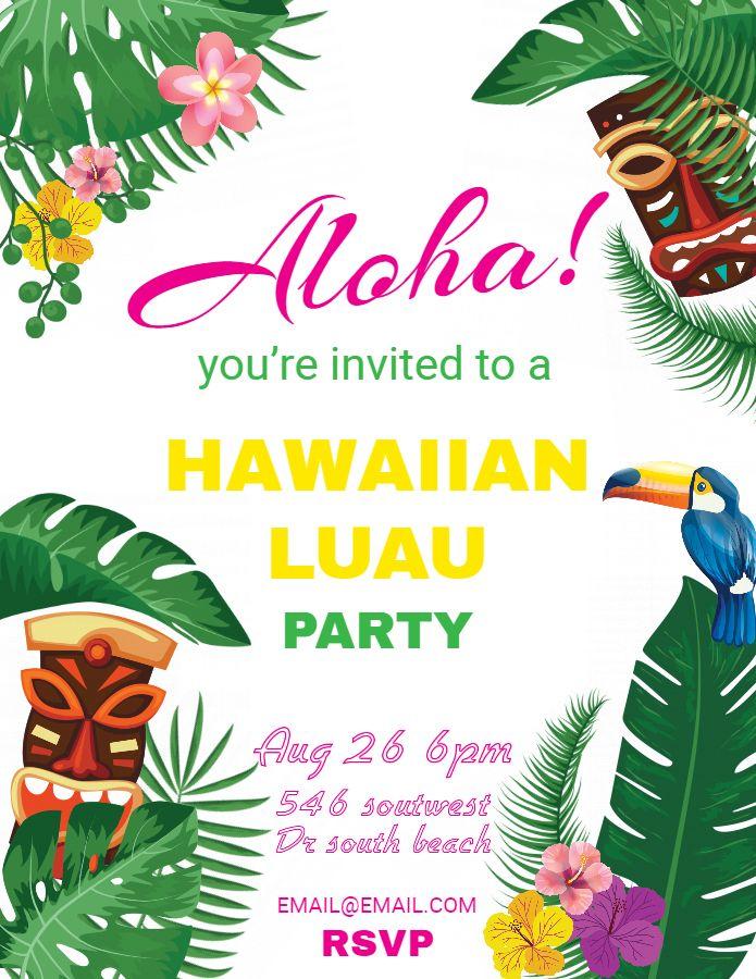 Hawaiian Party Invitations Luau Flyer Template Design Luau Party