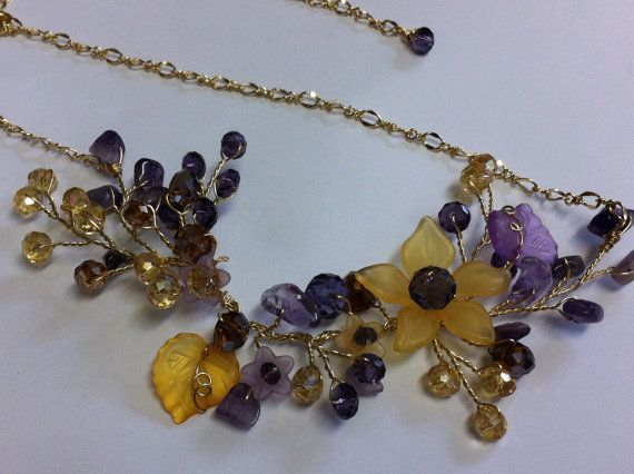 Yellow and purple jewelry set necklace and di beadsforartist