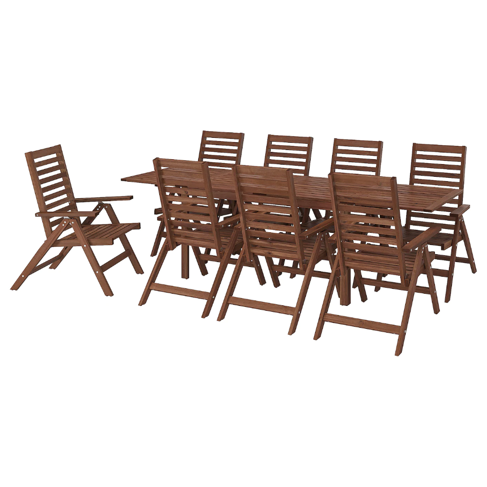 ÄPPLARÖ Table+8 reclining chairs, outdoor, brown stained - IKEA in