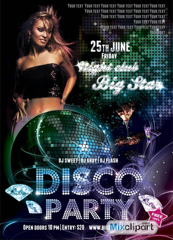 DiamondTemplate Flyer Disco Party  Free Psd File  Free Source
