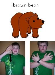 Brown Bear sign language book, link to other sign language activities