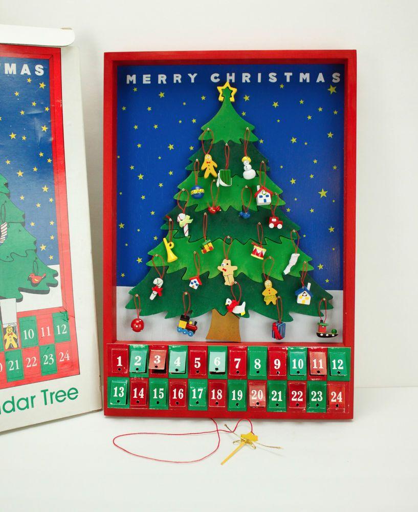 Dept 56 Advent Calendar Tree Complete Christmas Wood Wooden Wall Mini Ornaments Wooden Advent Calendar Christmas Wood Mini Ornaments
