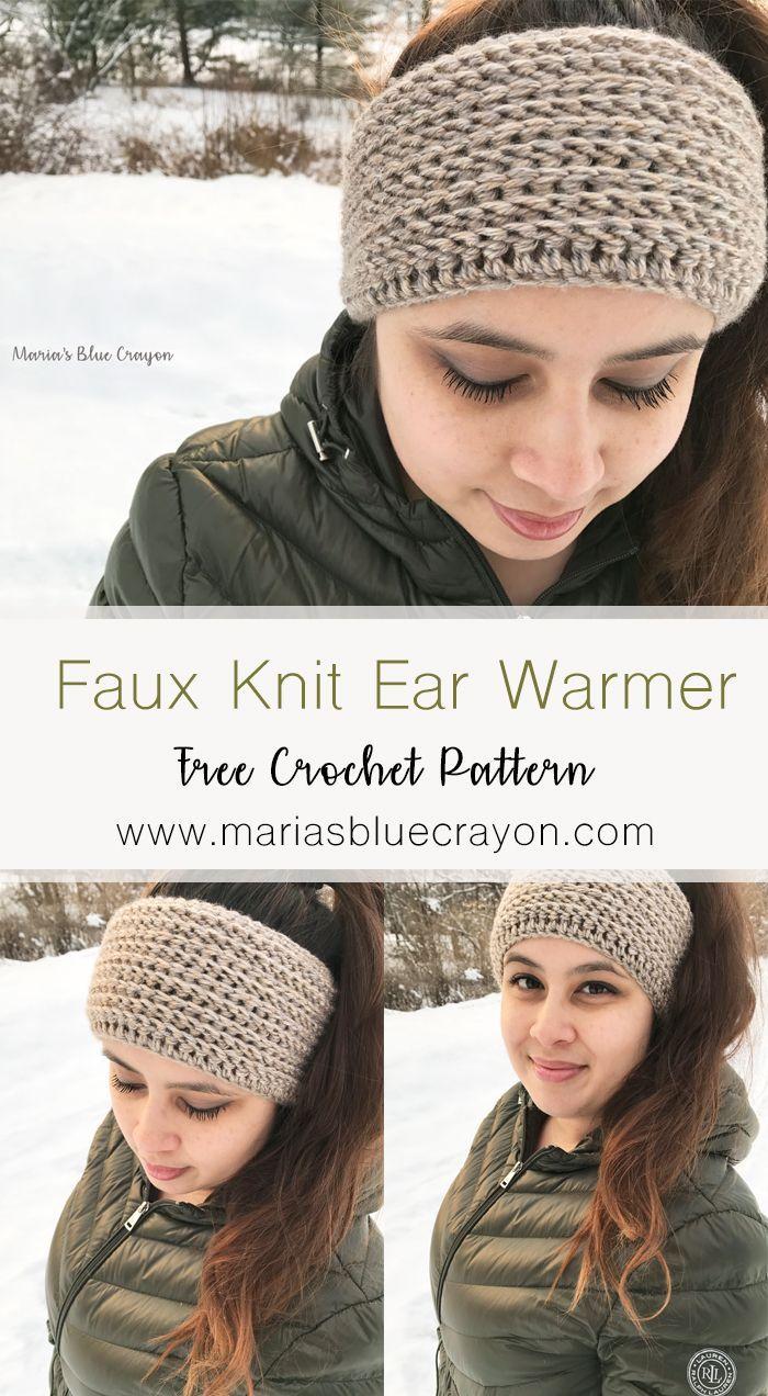 Faux Knit Ear Warmer - Free Crochet Pattern | Pinterest | Easy ...