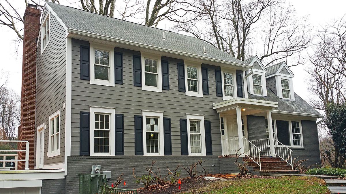Crystal-Exteriors-James Hardie Plank-fiber cement-siding-Potomac-Montgomery County-Maryland-MD-20854-TY3 Remove worn out leaky Masonite plank siding. Install Dupont Tyvek DrainWrap, James HardiePlank, CedarMill 7.25