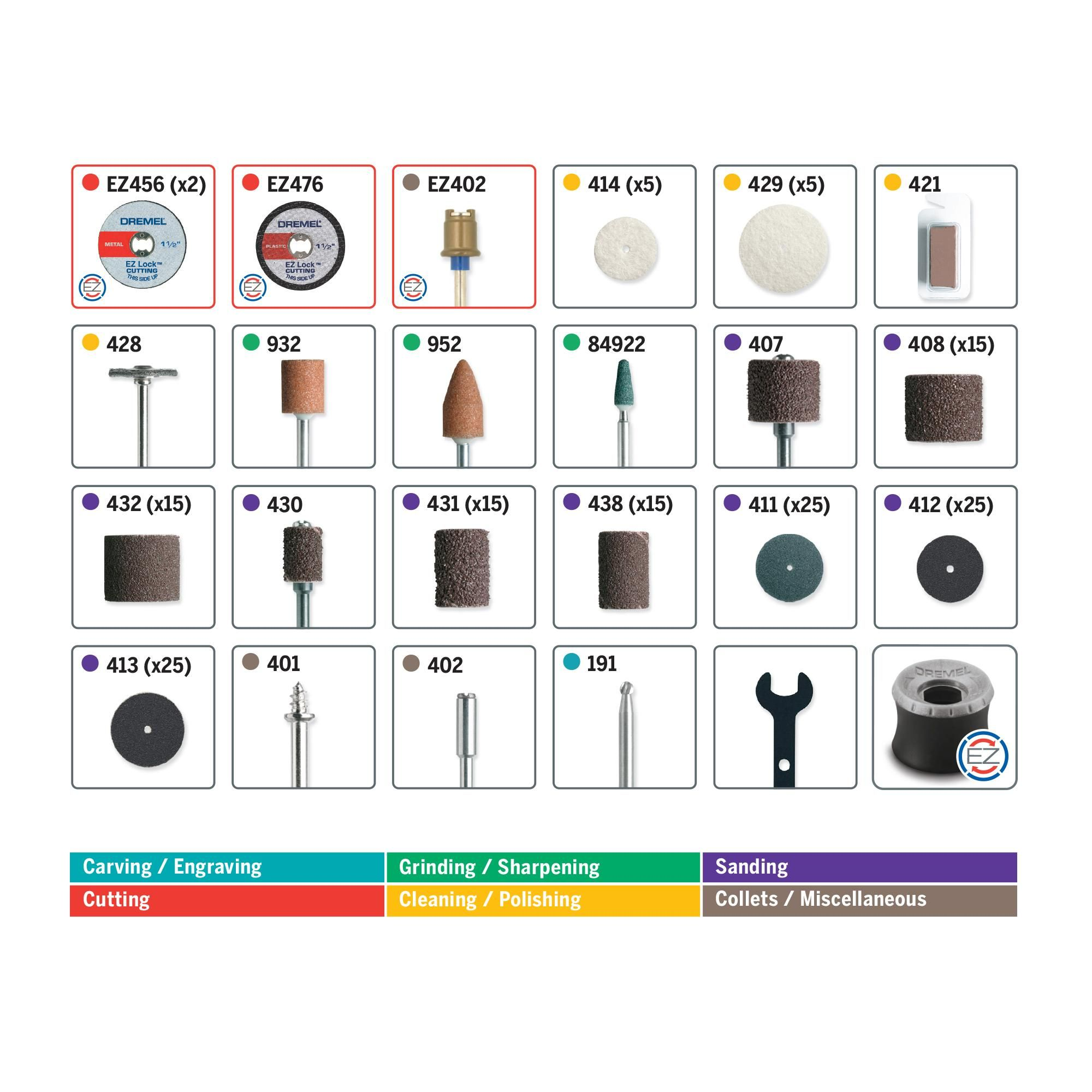 Dremel Accessory Chart And Code As To What Each Is Used For Dremel Dremel Accessories Dremel Rotary Tool