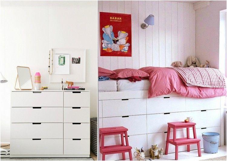 Jugend mädchenzimmer ikea bett  Die Ikea Nordli Kommode wird zu einem Hochbett umgestaltet | Ideen ...