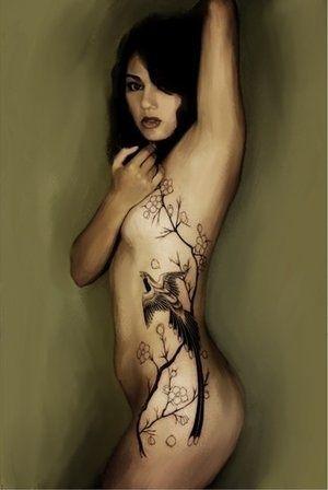 tattoo nude rib Hot girls