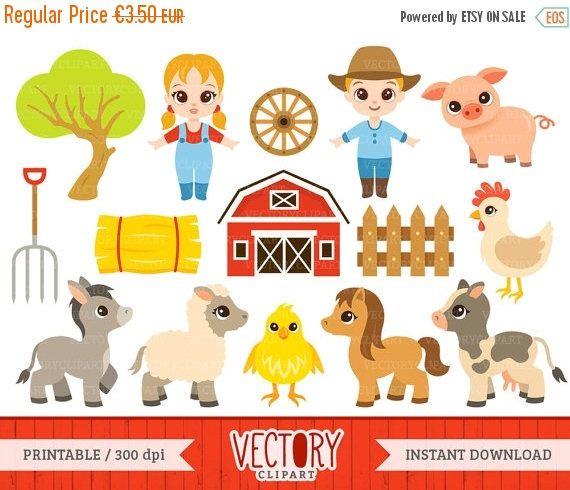 Farm Clipart Set Of 15 Barnyard Animals Cow Donkey Farmer Lamb And Horse By VectoryClipart
