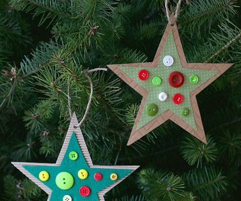 Button Star Christmas Ornament Craft For Kids Inspired By The Childrens Book Corduroy