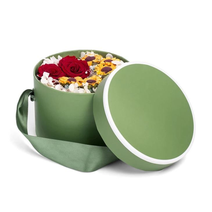 Large round box with lids green flower cardboard boxes