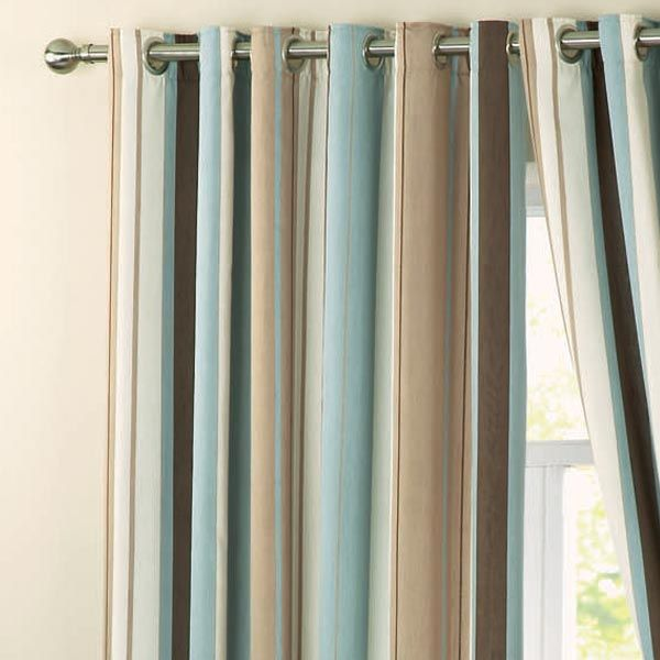 Dreams N Drapes Whitworth Stripe Eyelet Lined Curtains Duck Egg Blue 66