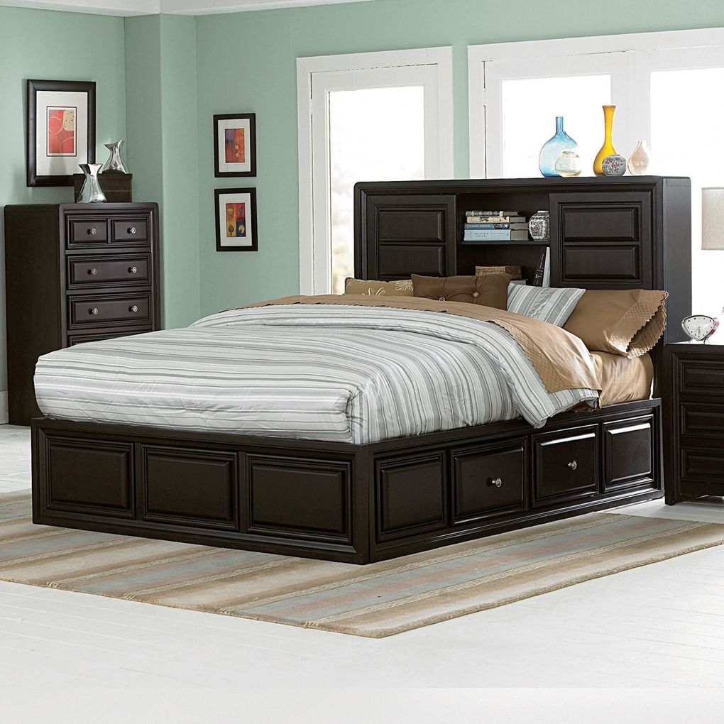 Image of Bed Frames Twin Platform Bed Storage Espresso