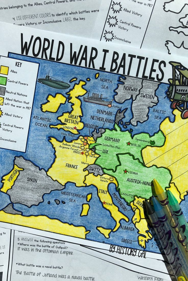 World War I Battles Map Activity Print And Digital Map Activities World War World War I