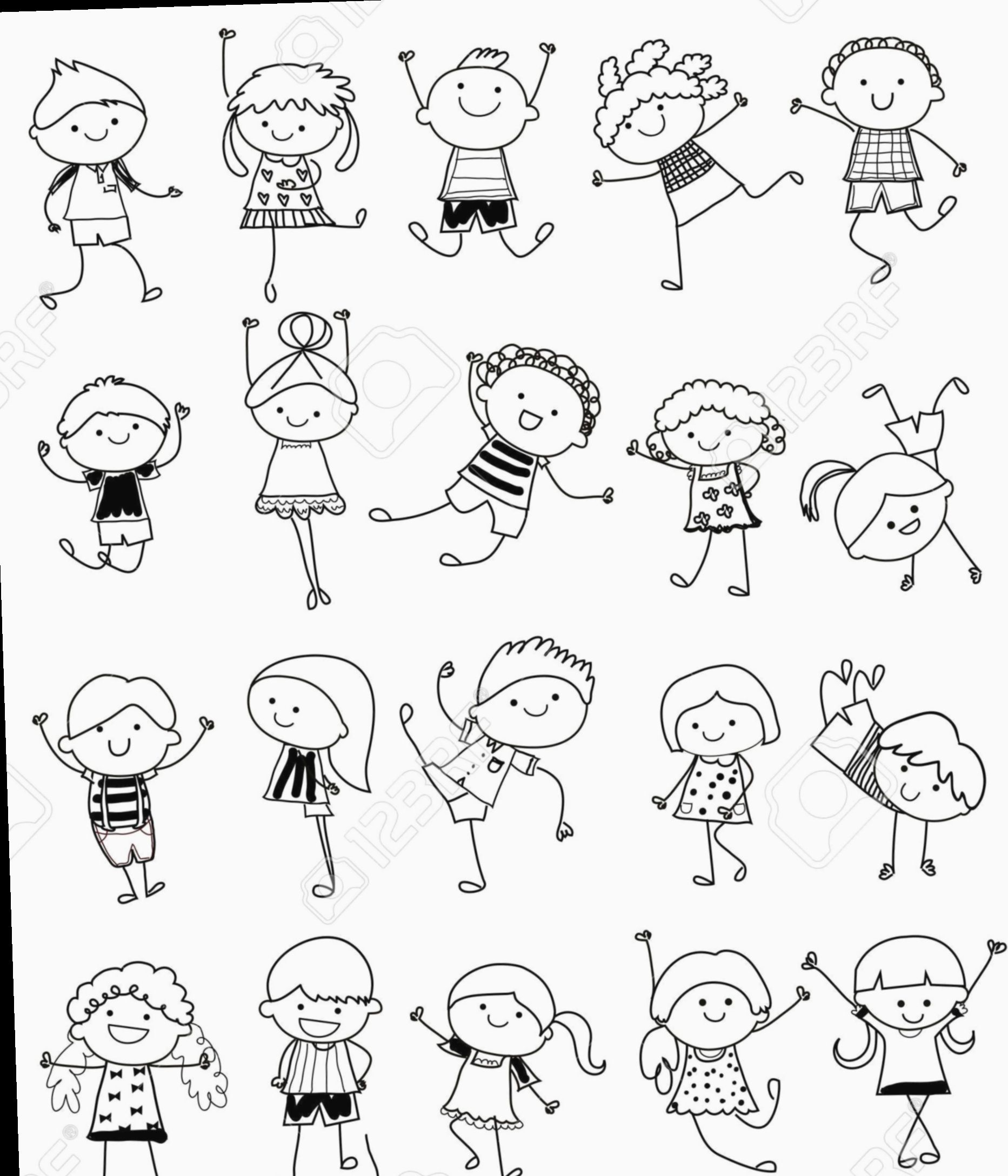 20 Cute Doodles Easy People Stick Figure Drawing Drawing For