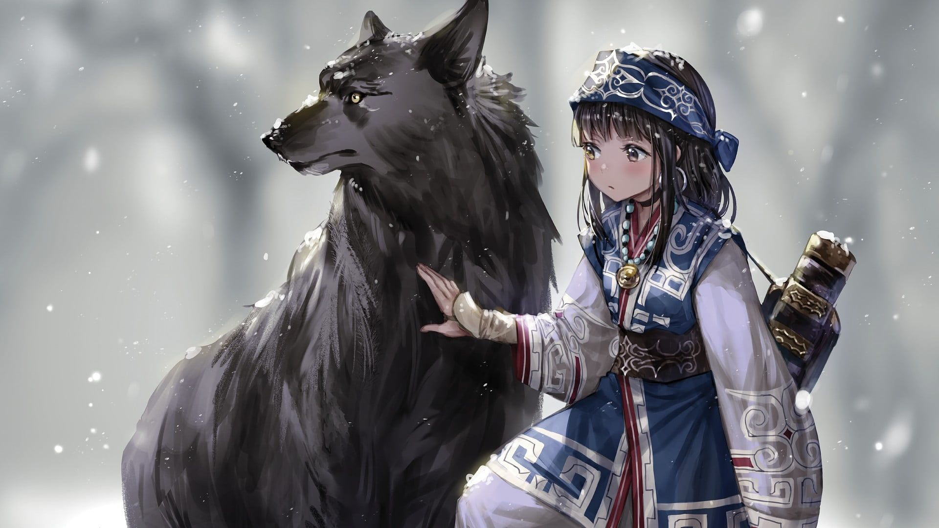Brown Haired Girl Anime Character Illustration Fantasy Art Anime Snow Wolf Winter Anime Girls Original Charac Character Illustration Anime Girls Characters