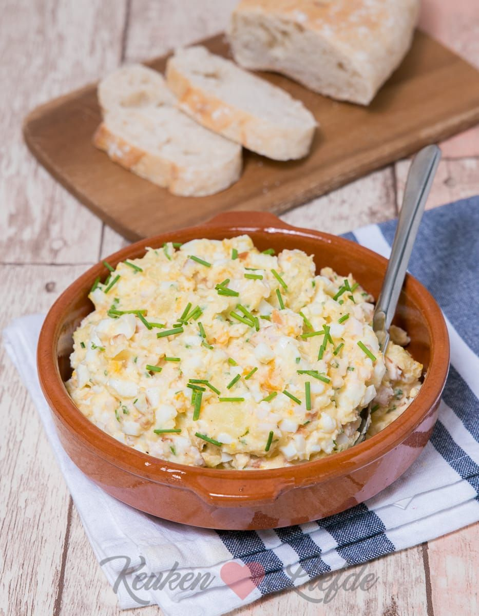 Aardappel-eisalade met gerookte kip - Keuken♥Liefde #koudehapjes