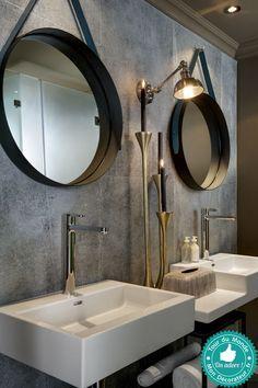 Resultat De Recherche D Images Pour Salle De Bain Double Miroir Rond Miroir Salle De Bain Salle De Bains Beige Et Blanc Decoration Salle De Bain