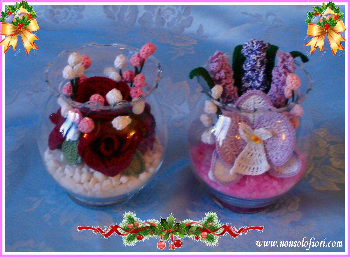 Bocce di vetro con fiori all\'uncinetto Roselline, orchidea e lavanda ...