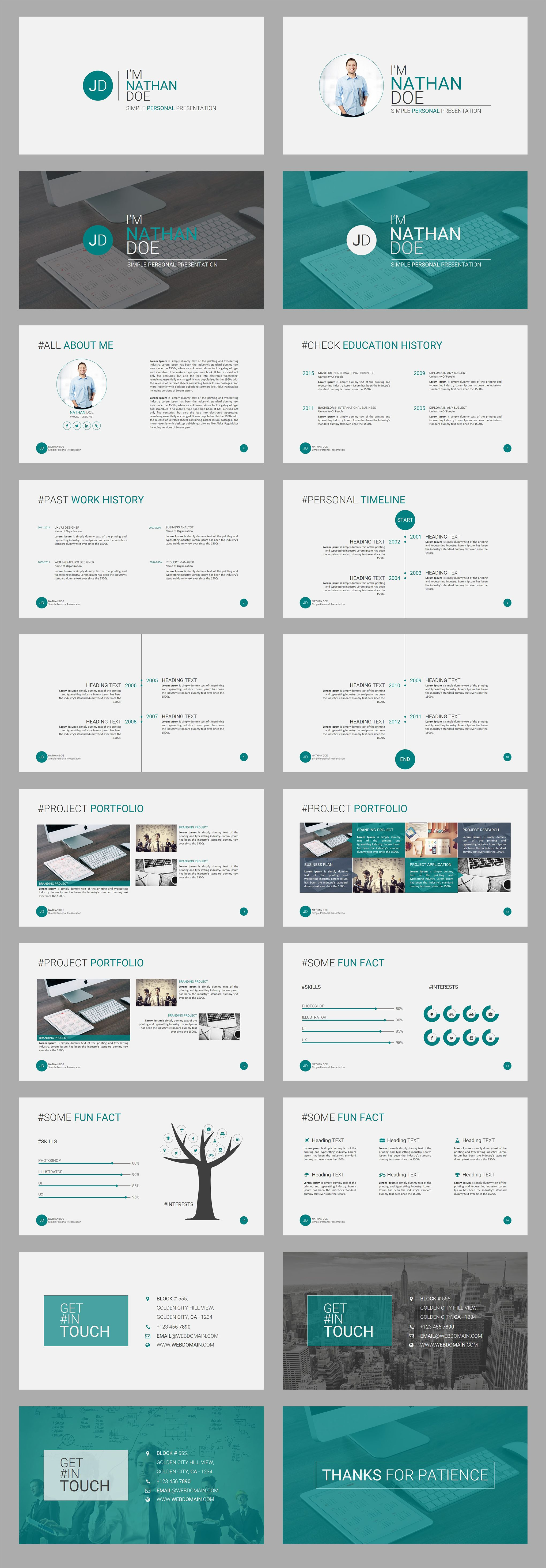 "Powerpoint Resume Jd  Personal Cvresume Powerpoint Presentation Template"" Is A"