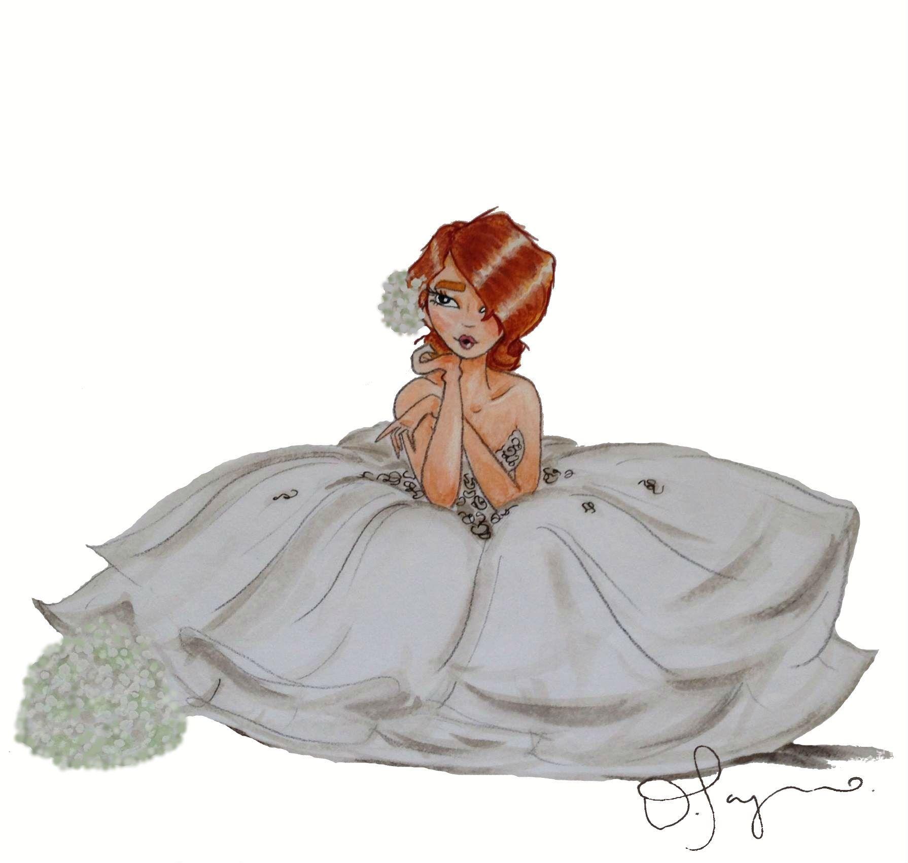 """Bridal Fashion Illustration """"Bridgette"""" by Diamar Payano  #bride #wedding…"""