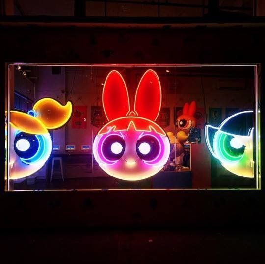 image result for powerpuff neon sign kiddo. Black Bedroom Furniture Sets. Home Design Ideas