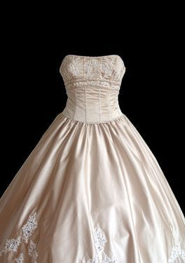 Love the understated yet elegant neckline on this strapless Ball Gown with Lace and Satin