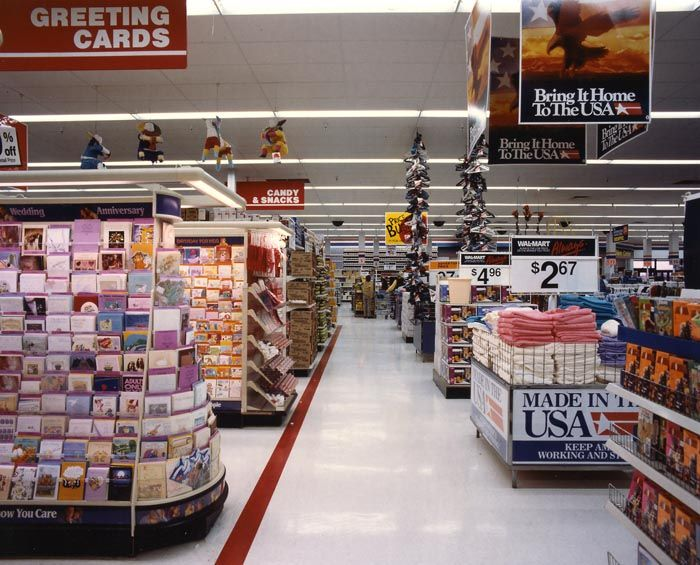 photos of various walmart stores from the early 1990s