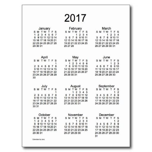 2017 Black and White Mini Calendar by Janz Postcard | Minis ...