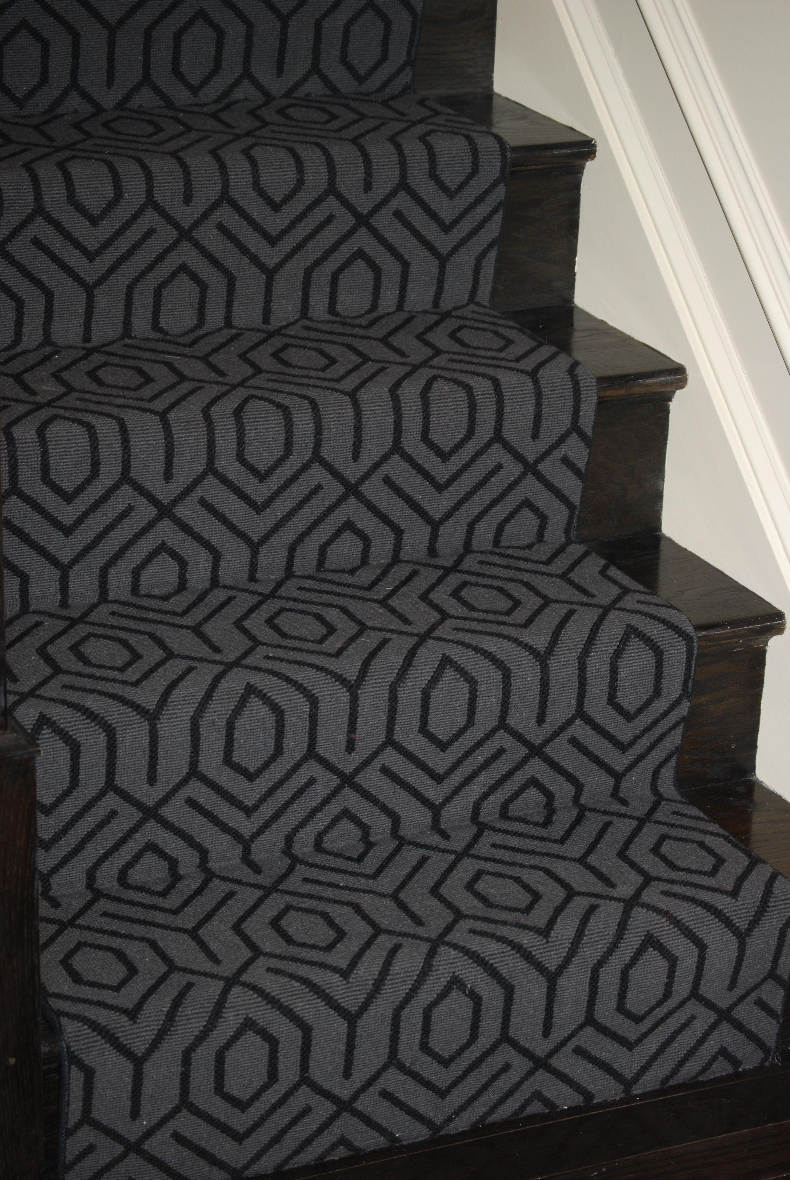 Geometric Stairs Geometric Staircase Melbourne: Stair Runner W/ Geometric; Dark Stain, Dark Rug