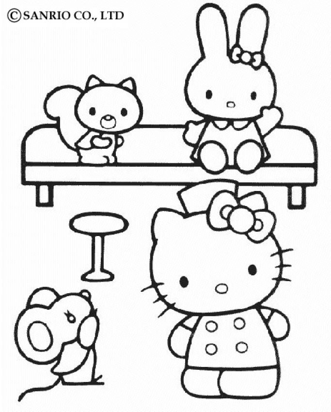 51965f59d Hello Kitty at home coloring page | Hello Kitty Coloring Pages ...