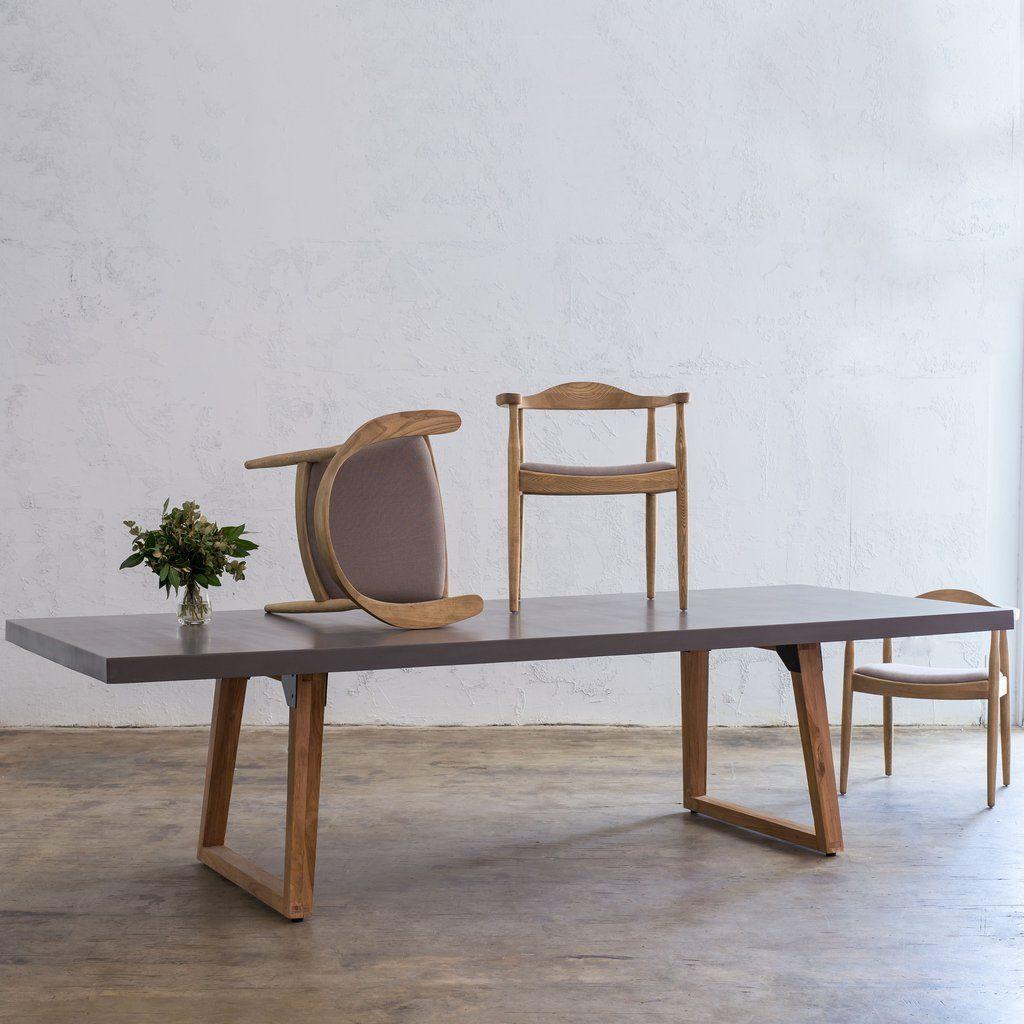 Concrete Dining Table Modern Design Organic Granite Top Indoor Outdoor