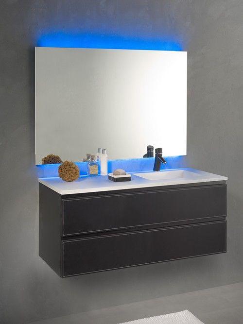 Loft \ Bath® Noir u003e Mobilier façades cuir u003e Ensemble vasque à droite - Meuble De Salle De Bain Sans Vasque