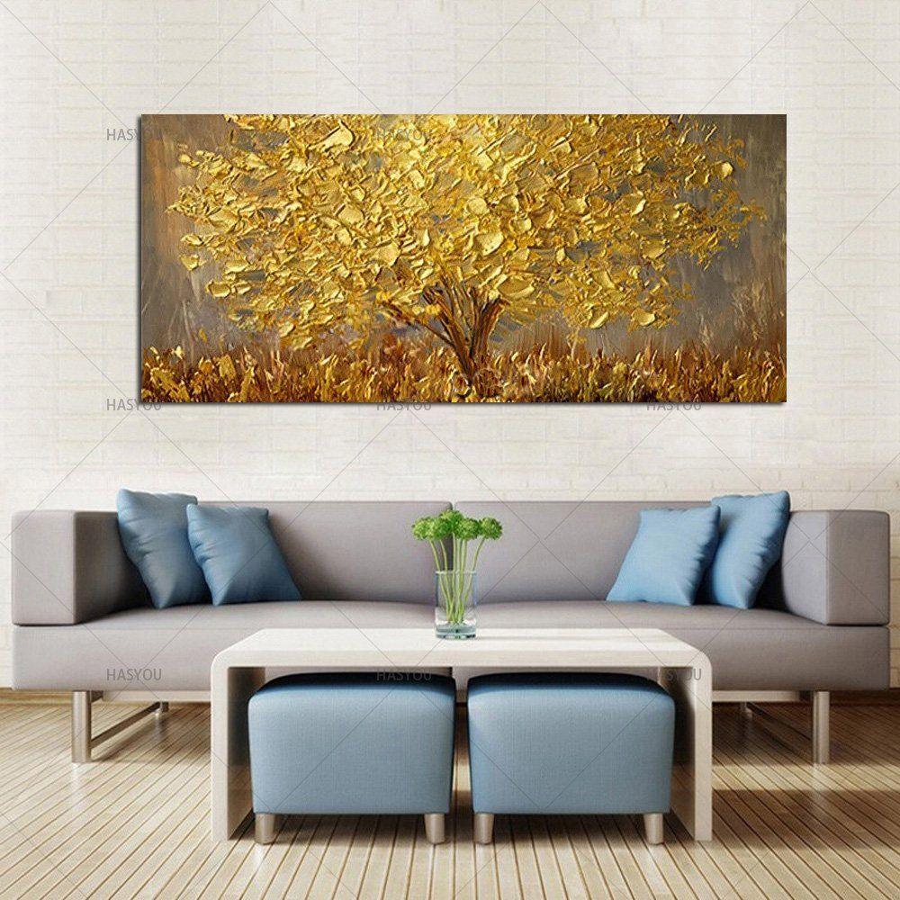 Handgemalte Messer Gold Baum Olgemalde Auf Leinwand Grosse Palette 3d Gemalde Fur Wohnzimmer Moderne Abstrakte Wand Kunst Bilder In 2020 Gemalde Fur Wohnzimmer Olgemalde Auf Leinwand Baumbilder
