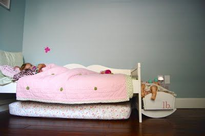 """Another pinner said """"We keep her old crib mattress under the bed so it acts as a trundle. story time spot. and great for jumping on."""""""