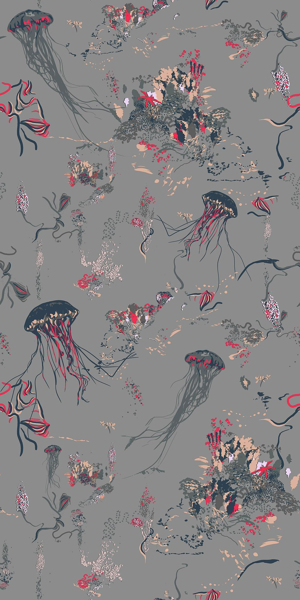 Jellyfish by 17 Patterns Grey Wallpaper A01JF02W