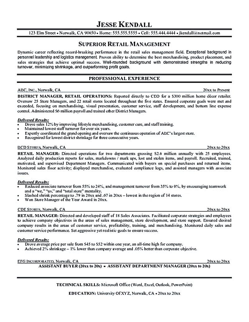District Manager Cover Letter Retail Manager Resume Is Made For Those Professional Employments Who .