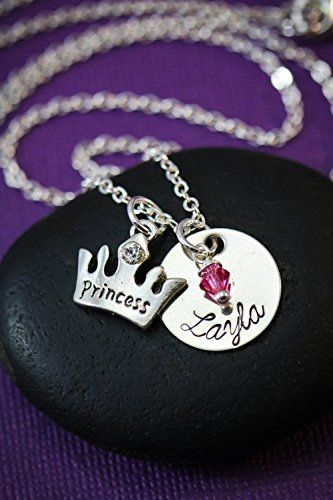 Personalized Princess Crown Jewelry – DII - Little Girls Gift – Handstamped Handmade Necklace – 5/8 Inch 15MM Disc – Custom Birthstone Color – Customize Name – Fast 1 Day Shipping from #amazon https://www.amazon.com/Personalized-Princess-Crown-Jewelry-Handstamped/dp/B015YFBC4S/ref=as_li_ss_tl?ref=hnd_dp_car_mba_4&linkCode=sl1&tag=httproymichel-20&linkId=4f500df52eaa00f5597b47192def25ff